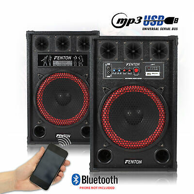 "Pair 12"" Inch Active Speakers Karaoke Party USB Plug & Play System Home DJ 800W"