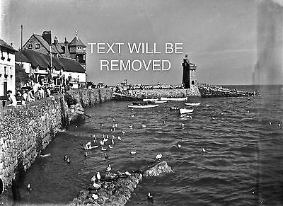 NEAR LYNMOUTH HARBOUR 1930/40s 1/6th PLATE GLASS NEGATIVE 130