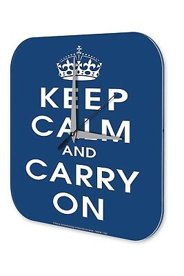 Fun Wall Clock Vintage Decor  Keep Calm and Carry on crown dark blue Acryl Acryl