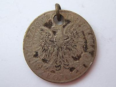 1932 Poland 10 ZLOTYCH Coin as pendant.