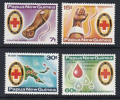 PAPUA NEW GUINEA 1980 Red Cross blood transfusion bank mint set sg393-396 MNH