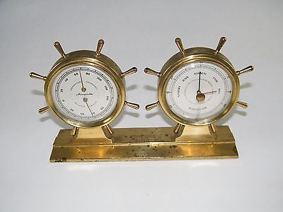 Vintage Airguide ~ Barometer Thermometer Humidity Weather Station, Ship Wheel