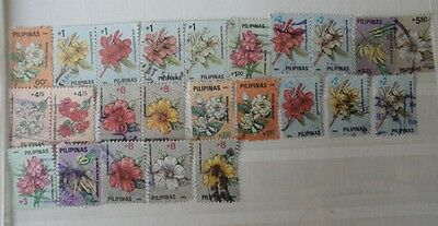 Philippine stamps used group of flowers 1991 and 1992.