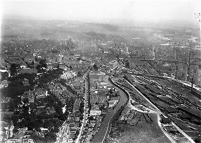 Photographic Glass Negative Ariel View Of Nottingham Taken From Biplane 1921
