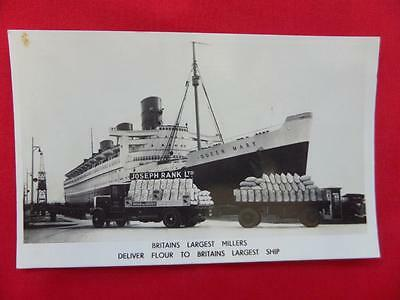 JOSEPH RANK Flour Trucks with QUEEN MARY Liner Postcard - Real Photo