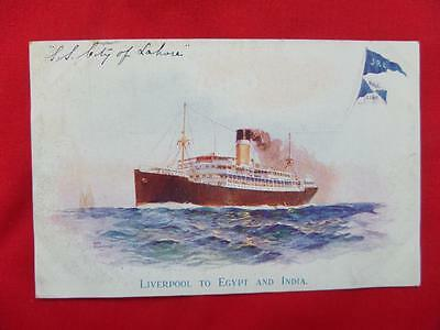 SS CITY OF LAHORE Cruise Liner Hall Line Steamship Co Old Postcard