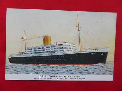 RMS ANDES Royal Mail Lines Old Postcard
