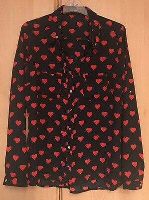 Woman's Navy Shirt / Blouse With Red Hearts, Size 12, From Oasis,