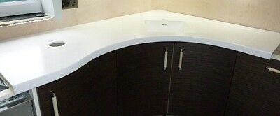 White Corian Used Curved Worktop with sink
