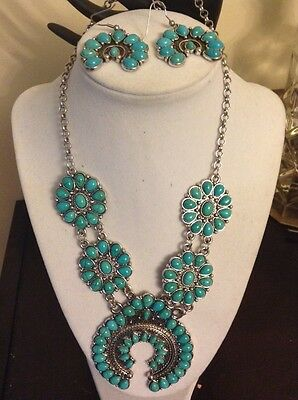 Squash blossom turquoise Howlite Necklace W/ Matching Earrings