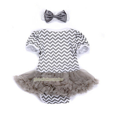 Baby Girls Newborn Headband Jumpsuit Party Dress Outfit Tutu Sets Clothes 0-3M