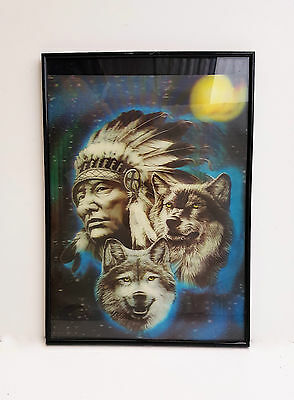 Print American Indian & Wolf 3D Effect