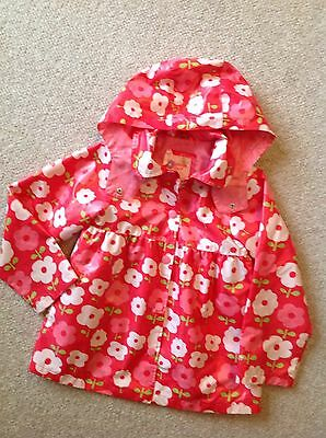 OSHKOSH Girls Size 7 Red Pink Flower Rain Jacket Coat Spring Slicker EUC