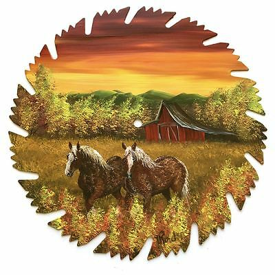 Hand Painted Saw Blade Sunset Fall Red Barn and Clydesdale Horses OOAK