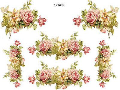 XL KLeiN PinK & YeLLow RoSe CoRNeRs & SWaGs SHaBbY WaTerSLiDe DeCALs