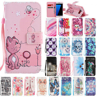 Painted Strap Magnetic Leather Wallet Stand Case Cover For Samsung S5/S6/S7 Edge