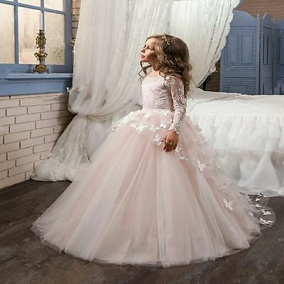 Lace Baby Princess Bridesmaid Flower Girl Dresses Pageant Wedding Party Gown++