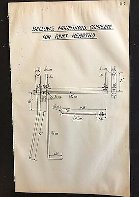 Harland & Wolff 1930's Shipyard Eng. Drawing, BELLOW MOUNTINGS RIVET HEARTHS P53