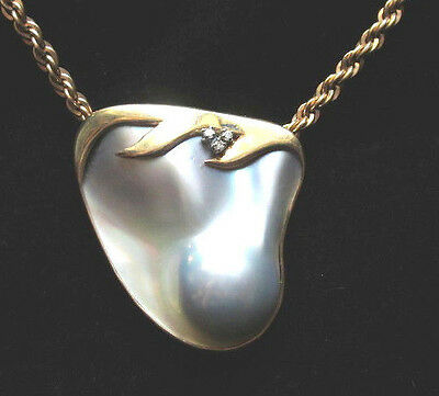 Vintage Large Blister Pearl with 3 Diamonds 14kt gold brooch pin pendant