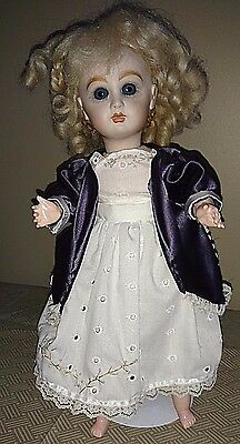 """Bisque Head Composition Body 1980 Jumeau Reproduction 15"""" Doll"""