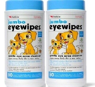 "JUMBO EYE WIPES x160 - (80wipes x2) - Petkin 7 x 5"" Dog Cat Cleaning Wet bp Wipe"