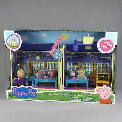 Peppa Pig's School Deluxe Playset W/ Ringing Bell & 3 Figures **new Sealed Box**