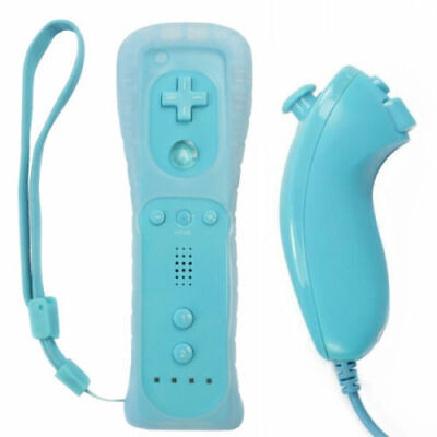 Blue Remote Controller & Nunchuck  For Nintendo Wii With Built In Motion Plus
