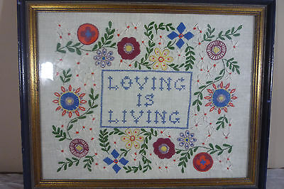 "Vintage 1970s Completed Jacobean Crewel Embroidery ""LOVING IS LIVING""  Framed"