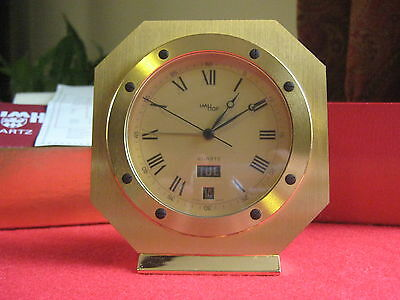 20thC  ART DECO PORTHOLE STYLE IMHOF SWISS CALANDER DESK CLOCK FROM HARRODS.