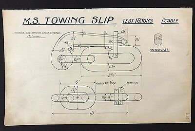 Harland & Wolff, Belfast 1930's Shipyard Eng Drawing - M.S. TOWING SLIP (P114)