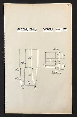Harland & Wolff 1930's Shipyard Eng Drawing - DRILLERS TOOLS, CUTTERS (P26)