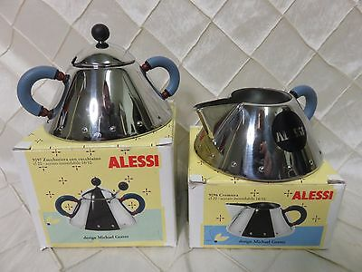 Alessi Michael Graves Series Stainless Steel Creamer & Sugar Bowl Set Blue Italy