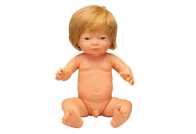 Caucasian Baby Boy Doll With Hair by Les Pluminis