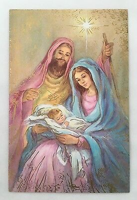 Unused Vintage Christmas Card Holy Family Mary Joseph Baby Jesus Pink Gold Star