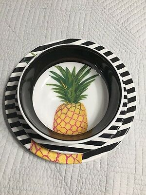 New CYNTHIA ROWELY Pineapple MELAMINE Plates Bowls 6 Piece NWT