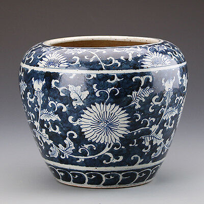 A Excellent Chinese Blue&White Porcelain Chrysanthemum Brush Pot