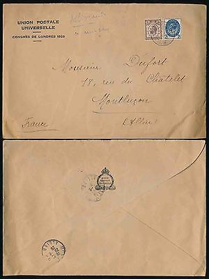 GB 1929 PUC OFFICIAL STATIONERY + CONGRESS POSTMARK 2 1/2d + 1 1/2d to FRANCE