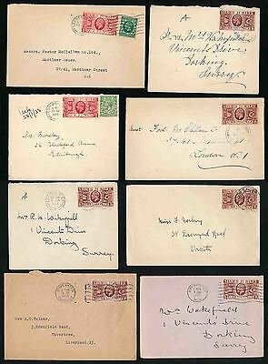 GB 1935 SILVER JUBILEE 8 ENVELOPES...ALL DATED FRANKINGS 1d + 1 1/2d