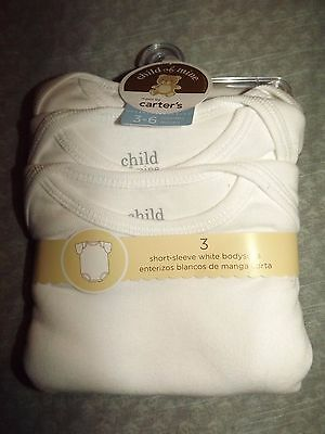 BABY BOY OR GIRL CHILD OF MINE by CARTER'S 3 SHORT SLEEVE WHITE BODYSUITS sz 3-6