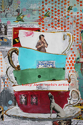 """A4 print colourfull contemporary art work """"The vintage tea cups """""""