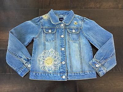 GapKids:  Girls Sz 5 Jean Jacket with Flower Embroidery