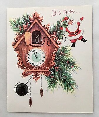 Vintage Christmas Card Wooden Cuckoo Clock Cute Santa Claus Pine Cones