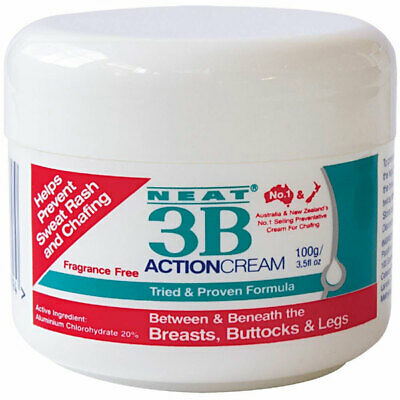 NEAT 3B ACTION CREAM 100g FRAGRANCE FREE PREVENT SWEAT RASH AND CHAFFING