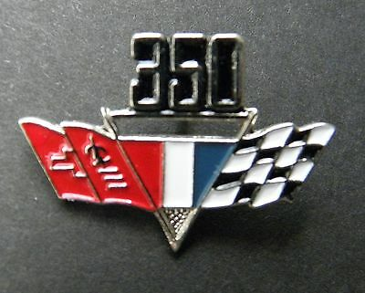 CHEVY 350 ENGINE CHEVROLET FLAGS CLASSIC AUTOMOBILE CAR EMBLEM PIN 3/4 inch