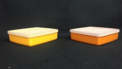 Lot of 2 Vintage Tupperware 670 square away Yellow org harvest sandwich keeper.