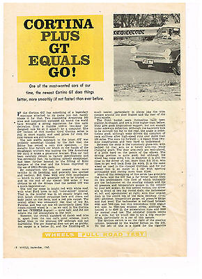 Ford Cortina Gt. 1965. Original Vintage.  Australian 4 Page Feature