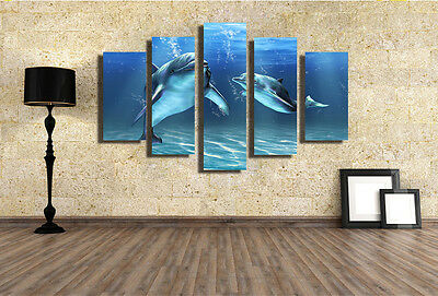 Huge Modern Abstract Wall Decor Art Oil Painting on Canvas NO FRAME Dolphin 098