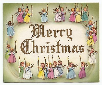 Vintage Greeting Card Merry Christmas Pastel Angel Candle Light Procession