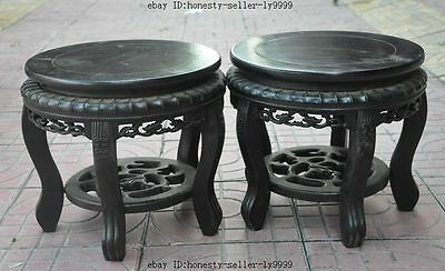 """12"""" chinese Antique rosewood wood carved chair Bonsai Potted Pedestal Bases Pair"""