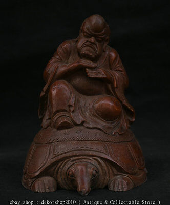 "6"" Old China Bamboo Root Carving Arhat Damo Dharma Buddha Ride Tortoise Statue T"